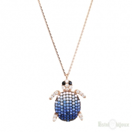 Turtle and Strass Silver Necklace