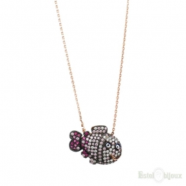 Fish and Strass Silver Necklace