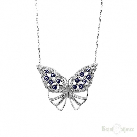 Butterfly and Strass Silver Necklace