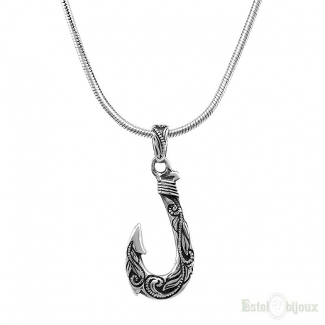 Hook Fishing Sterling Silver Necklace
