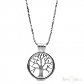 Tree of Life and Photo Frame Sterling Silver Necklace