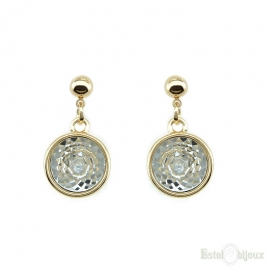 Drop pendants earrings round crystal large
