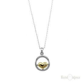 Round Pendant Heart with Crystal Necklace