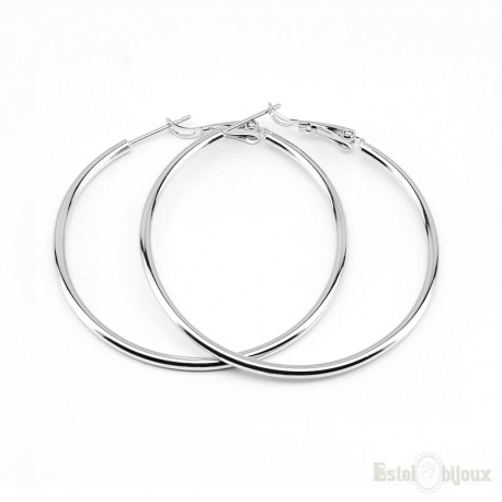 Silver Color Hoop Earrings