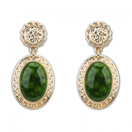 Earrings green oval