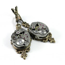 Earrings - Clockwork on Brass Filigree - Bulova Movement