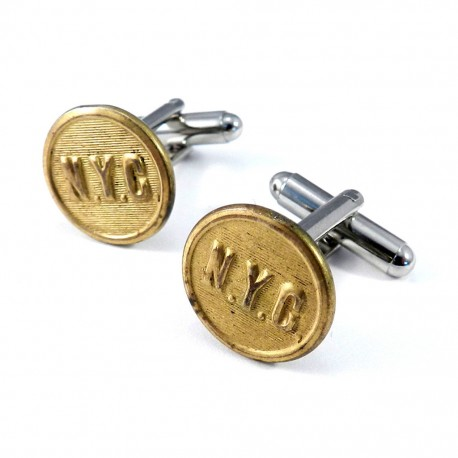 NYC Uniform Button Cufflinks - Brass